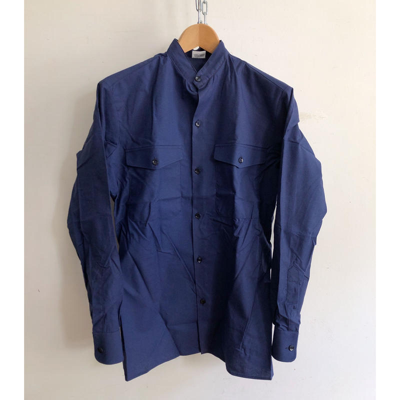 """70's Stand Collar French Work Shirt With Epaulette """"Cotton"""" Fabric Dead Stock"""