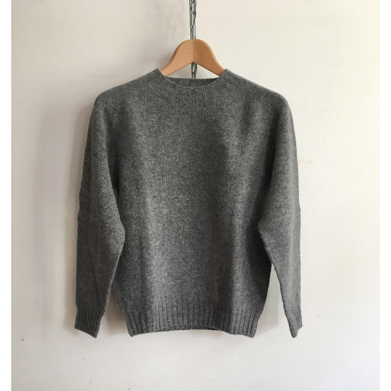 Harley of Scotland Crew Neck Shetland Sweater Med Grey