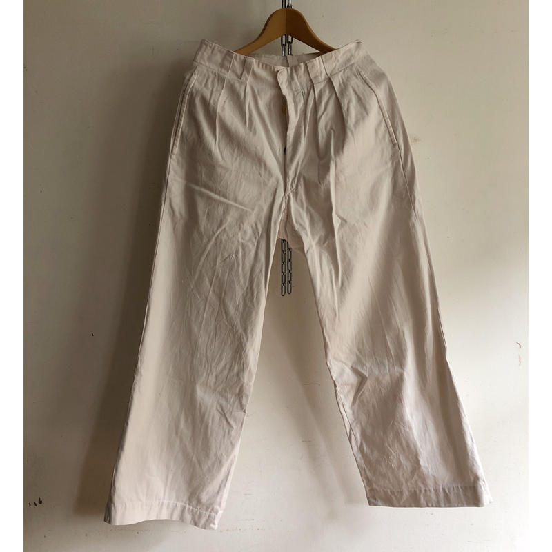 Early 40's French Army White Chino Trousers With Metal Buttons Exellent Condition/1