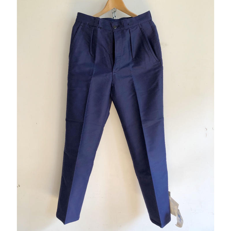 "50's ""Le Popularie"" Ink Blue Moleskin Trousers Dead Stock"