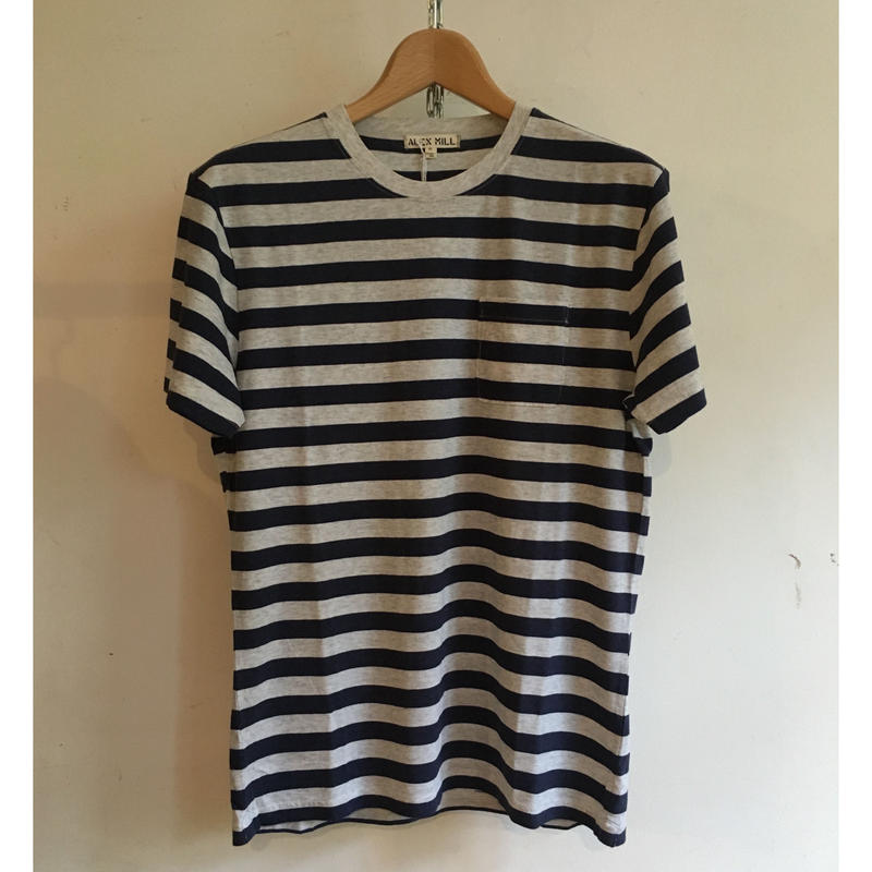 ALEX MILL Heather Stripe Tee Navy×Ecru
