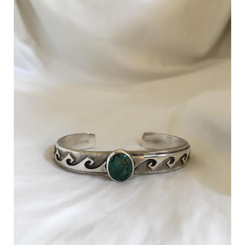 Used Indian Jewelry Navajo Bracelet with Turquoise Made By Ervin Hoskie