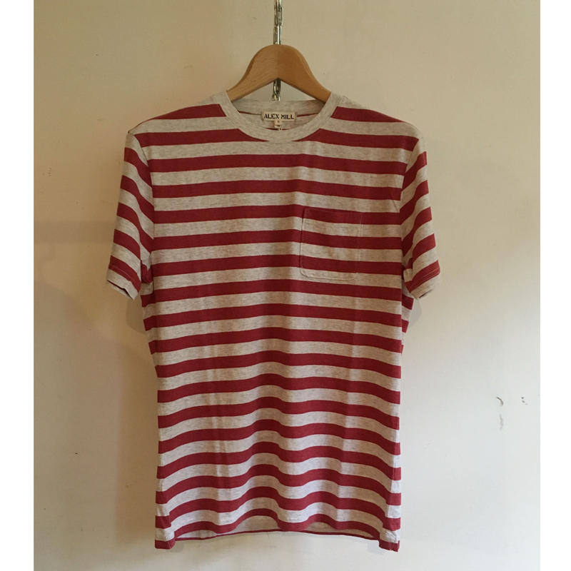 ALEX MILL Heather Stripe Tee  Red×Ecru