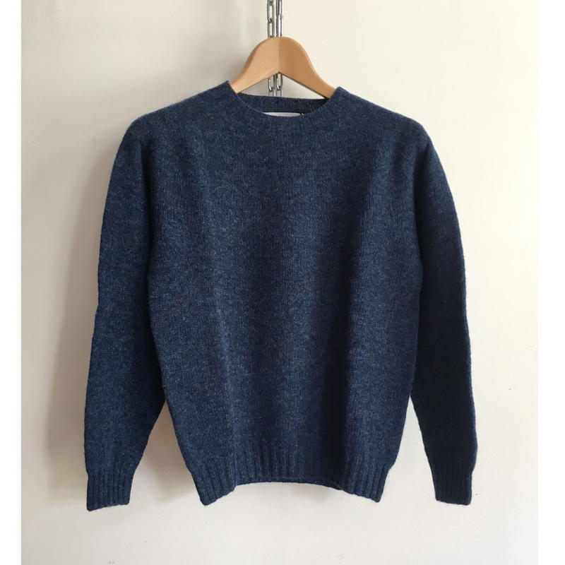 Harley of Scotland Crew Neck Shetland Sweater Denim