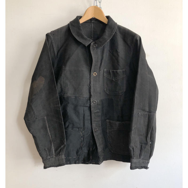 30's〜40's Big Patched Black Moleskin Coverall