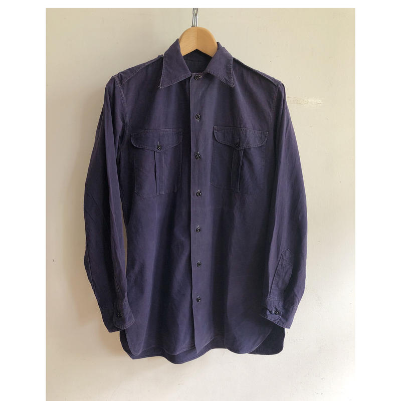 """40's French Army """"Indigo Cotton/Linen"""" Military Shirt Excellent Condition"""