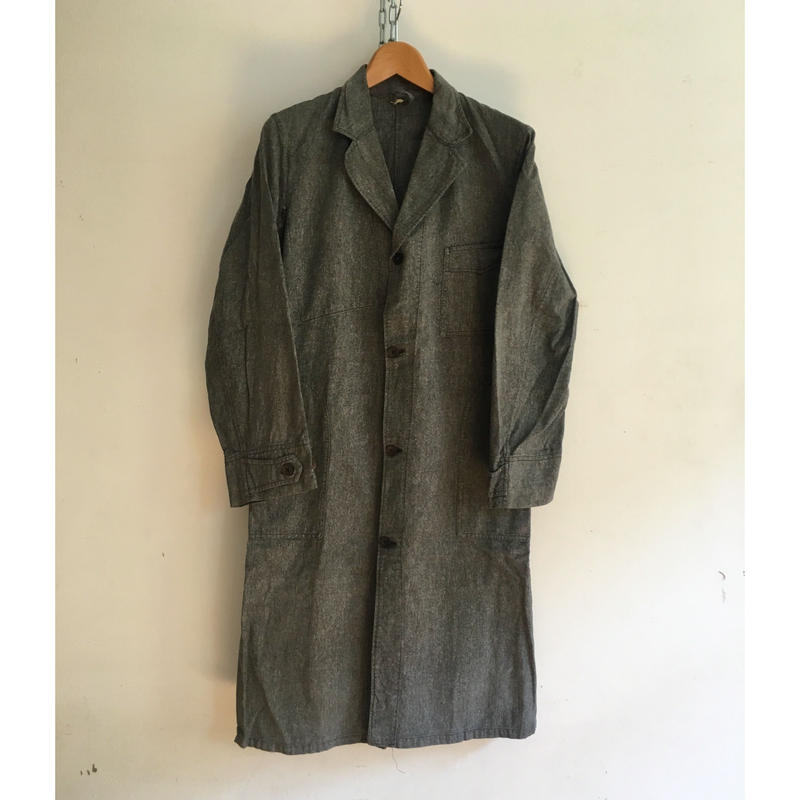 "40's Salt&Pepper Black Chambray Atrier Work Coat ""Wood Buttons"""