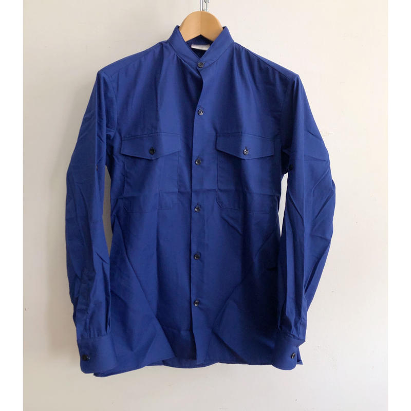 "70's  Stand Collar French Work Shirt With Epaulette ""Cotton/Polyester"" Fabric Dead Stock"