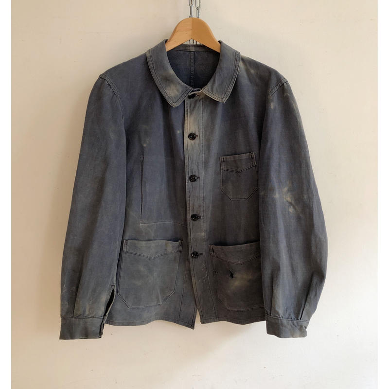 """30's French """"Cotton/Linen""""  Metal Buttons Workwear"""