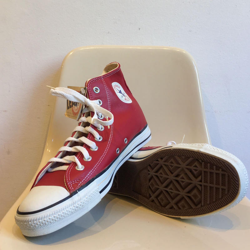 "90's  Made in USA ""Leather"" CONVERSE ALL STAR High Cut 箱付き Dead Stock 8 1/2"