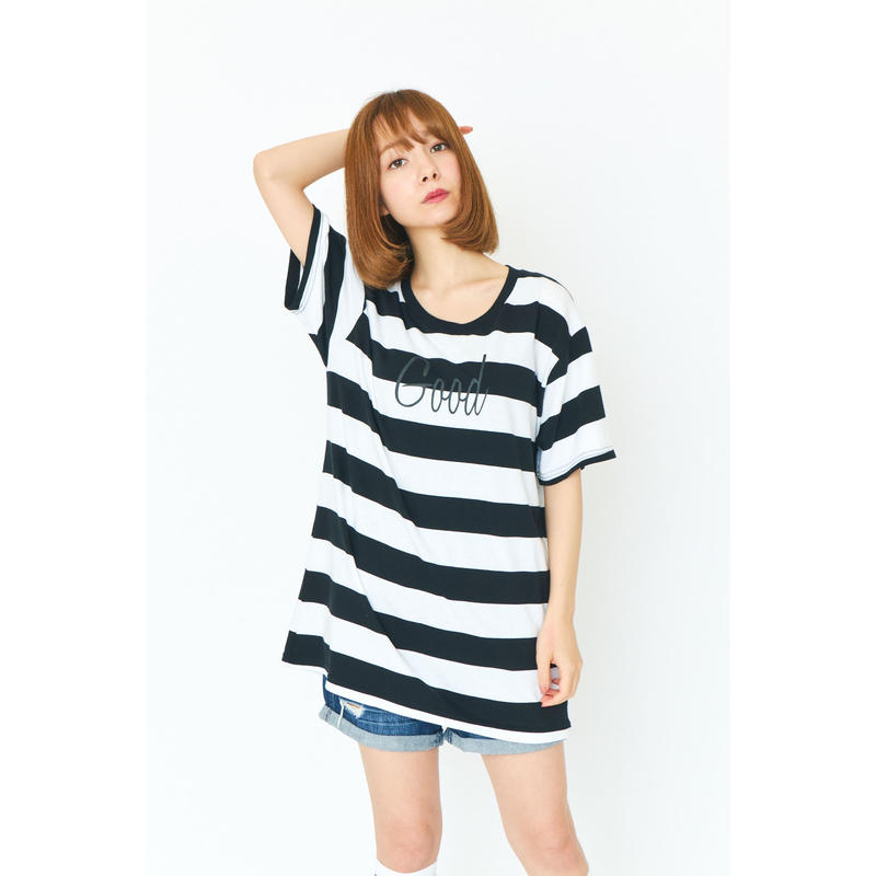 BORDER GOOD T-SHIRT/WHITE×BLACK GDT-011