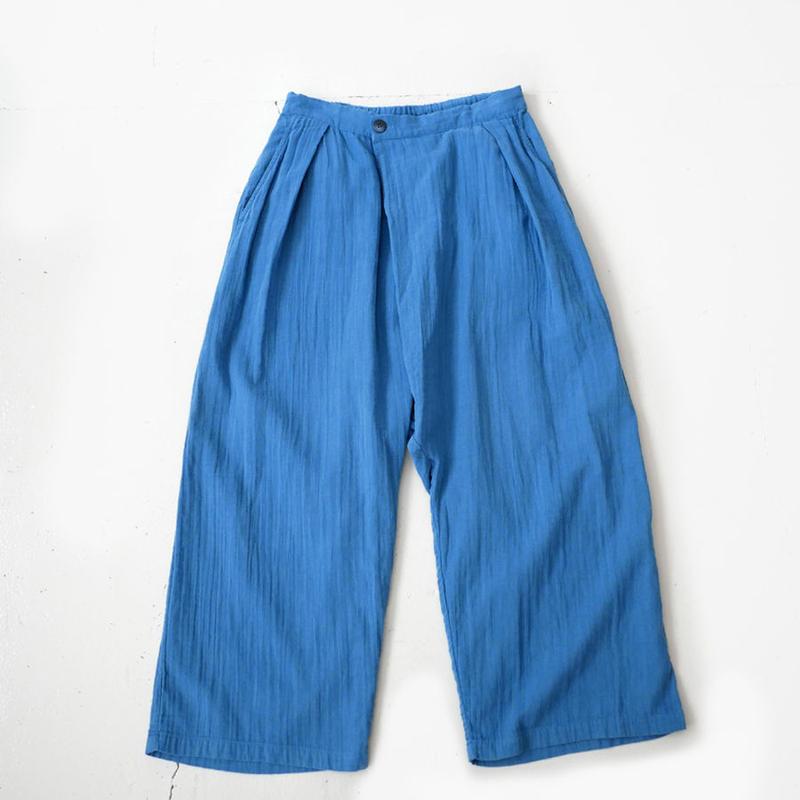 BLUE BLUE JAPAN |ブルーブルージャパン|シャットルダブルガーゼ テゾメ フルワイドパンツ|BLUE|700073630