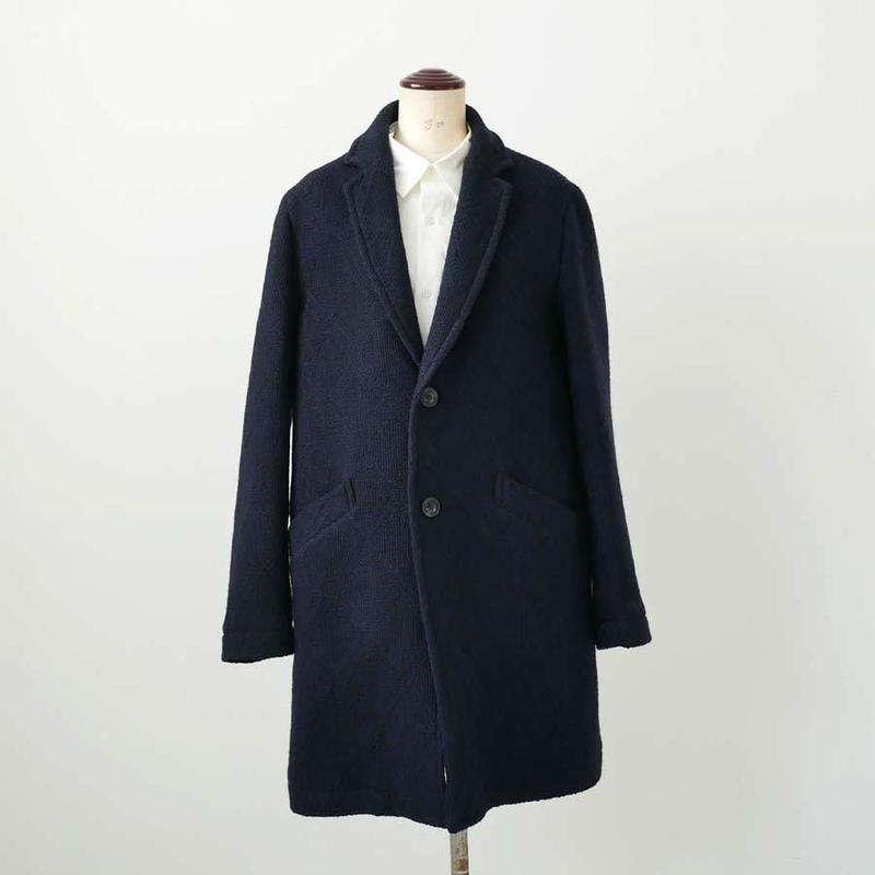 BLUE BLUE JAPAN |ブルーブルージャパン| ロービングウールカスリビッグダイヤシングルチェスターコート|D.NAVY