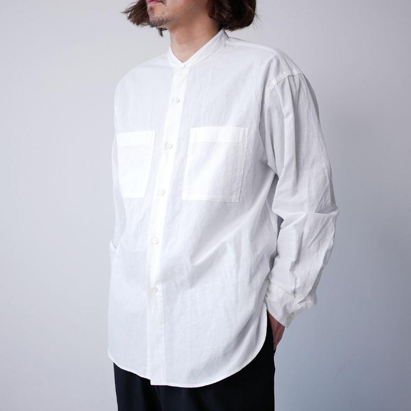 WIRROW ウィロウ コットンリネン スタンドカラーシャツ size2 WHITE