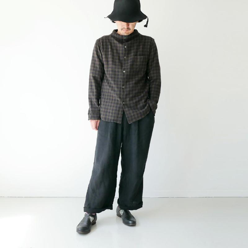 nisica |ニシカ | ガンジーネックシャツ |ブラウン |NIS839SH