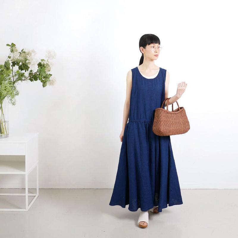 BLUE BLUE JAPAN|ブルーブルージャパン|リネン クルーネックノースリーブワンピース|INDIGO|700073617