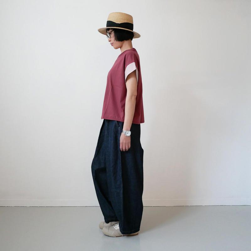 dahl'ia | ダリア | 異素材ショートスリーブ カット Tシャツ|RED