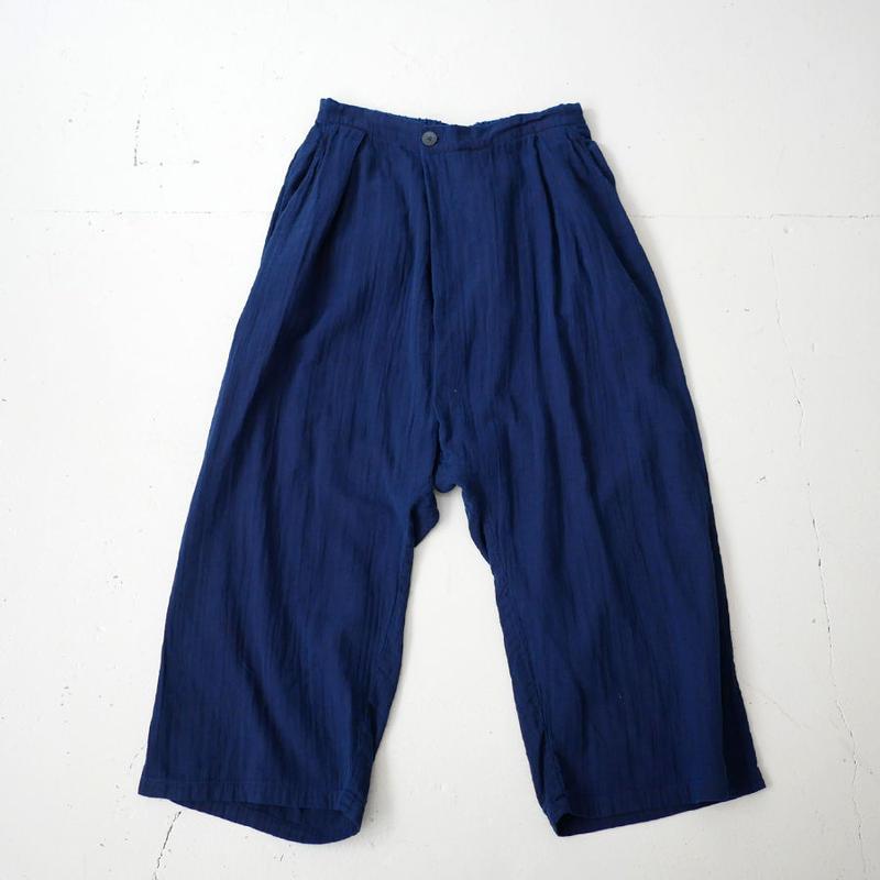 BLUE BLUE JAPAN |ブルーブルージャパン|シャットルダブルガーゼ テゾメ フルワイドパンツ|INDIGO|700073630