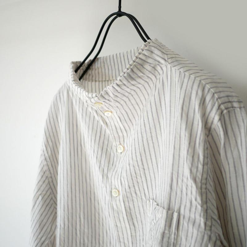 nisica ニシカ  ガンジーネックシャツ  NIS-863 GREYストライプ
