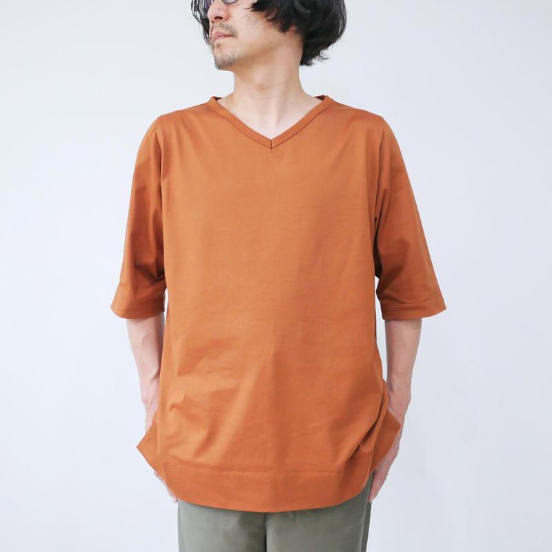 GOUACHE FUKUOKA|ガッシュ|Vネックハーフスリーブカットソー|Tシャツ|ダークオレンジ|メンズ
