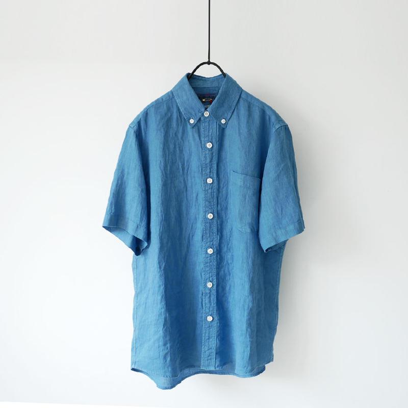 BLUE BLUE JAPAN |ブルーブルージャパン|リネンテゾメ ボタンダウンSSシャツ|BLUE|700073624