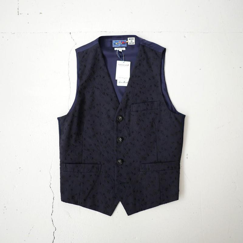 BLUE BLUE JAPAN |ブルーブルージャパン|クリンクルローン サクラフブキ サイドリブ4ボタンベスト|DNAVY|700073564