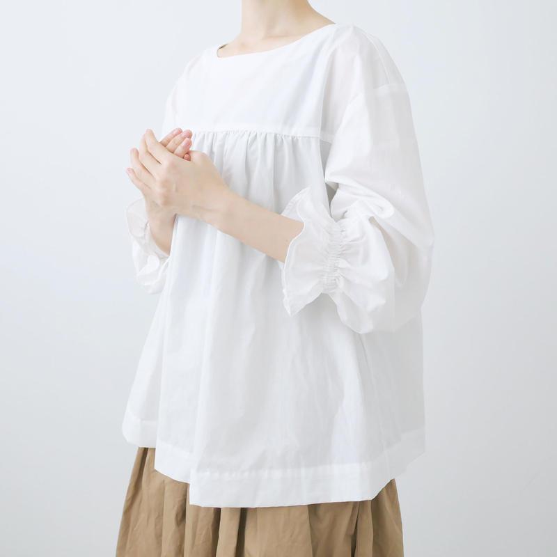 Alaris |アラリス|ギャザーロングパフスリーブシャツ|WHITE|BL-024