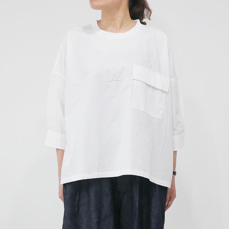 UNIVERSAL TISSU ユニヴァーサルティシュ|タイプライターリブネックワイドシャツ|UT181SH005|シロ