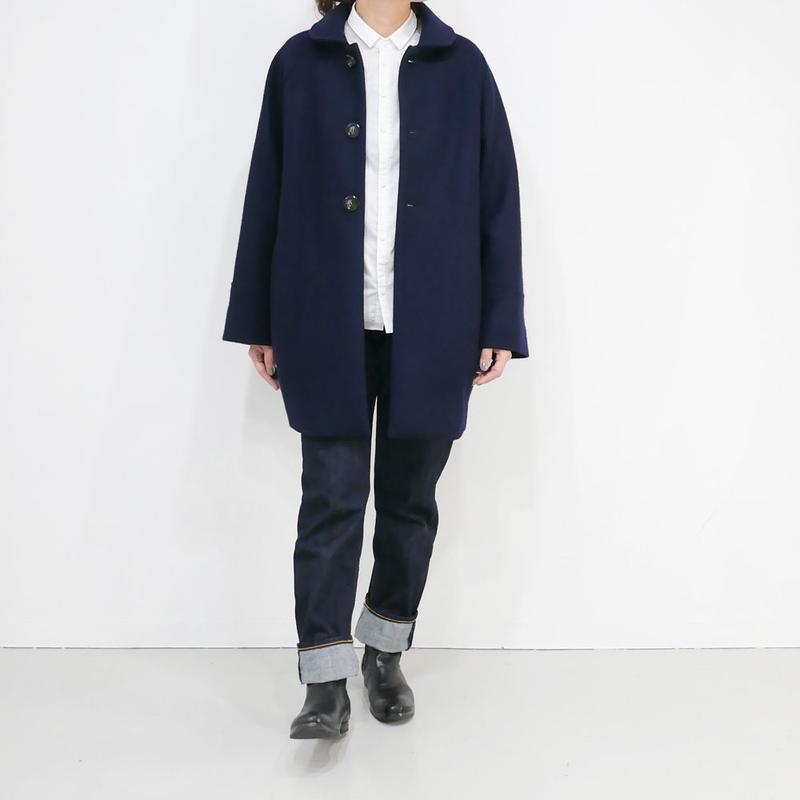 BLUE BLUE JAPAN|ブルーブルージャパン|ニットメルトンラウンドカラーウラボアハーフコート | NAVY|700070600