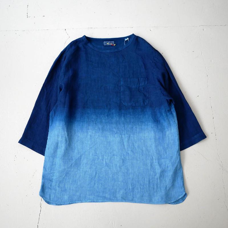 BLUE BLUE JAPAN |ブルーブルージャパン|リネン ホンアイグラデーション ワイドハーフスリーブシャツ|BLUE|700073627