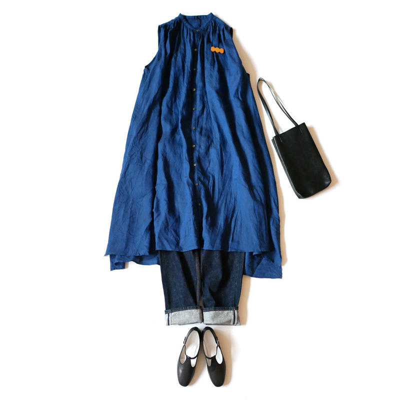 UNIVERSAL TISSU ユニヴァーサルティシュ|リネンギャザーシャツドレス UT181SH039 NAVY