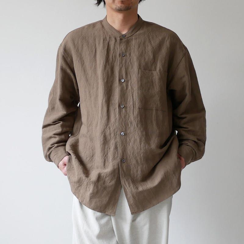 WIRROW  Bamboo linen  mens stand shirt バンブーリネン メンズ スタンドシャツ Kahki beige NO.54161-118