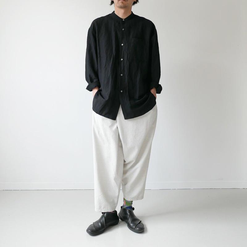 WIRROW  Bamboo linen mens stand shirt バンブーリネン メンズ スタンドシャツ BLACK NO.54161-118