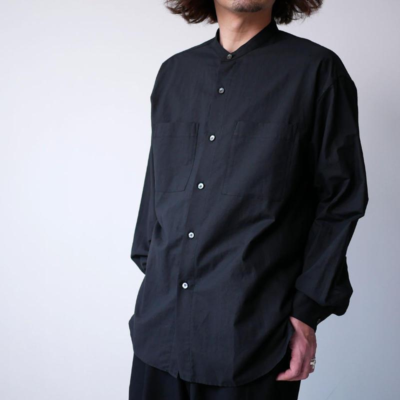 WIRROW ウィロウ コットンリネン スタンドカラーシャツ size2 BLACK