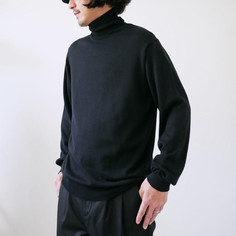 WIRROW|ウィロウ| turtle neck knit pullover black|BLACK|SIZE2