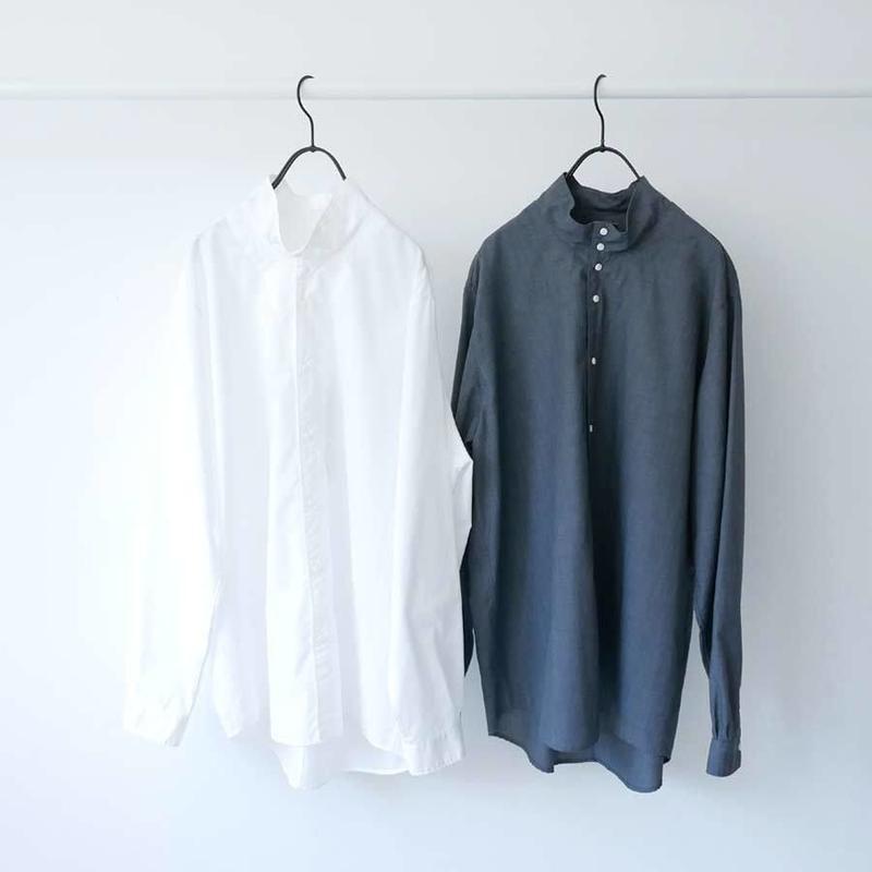 NO CONTROL AIR |ノーコントロールエアー|TCメランジバチストハイネックシャツ|OFF WHITE&GREY TOP|S9-NC067SF