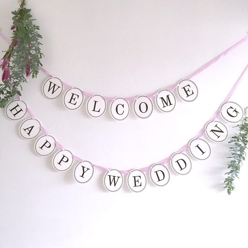 【2点セット】 WELCOME・HAPPY WEDDING  * Garland