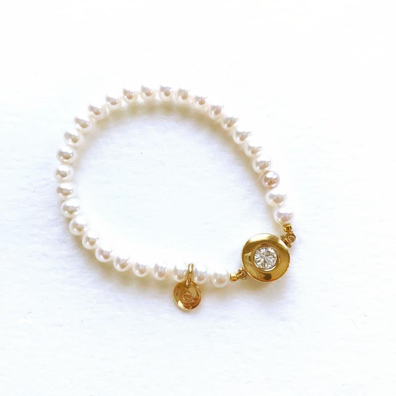 miroir 淡水パールブレスレット(ゴールド色)
