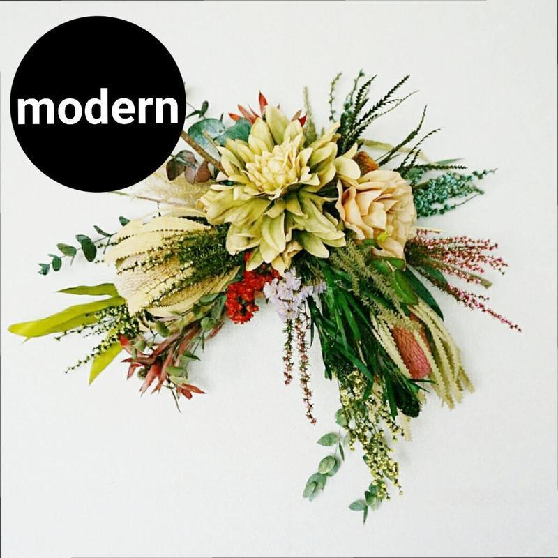 モダンで、おしゃれなスワッグ、花飾り mix33