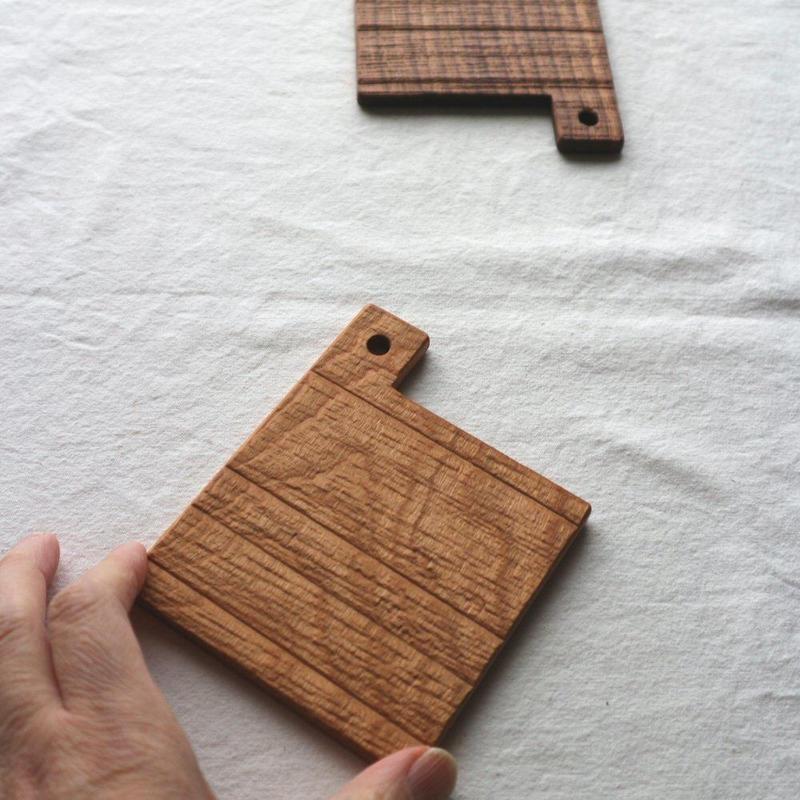 木のコースター四角/湯浅ロベルト淳