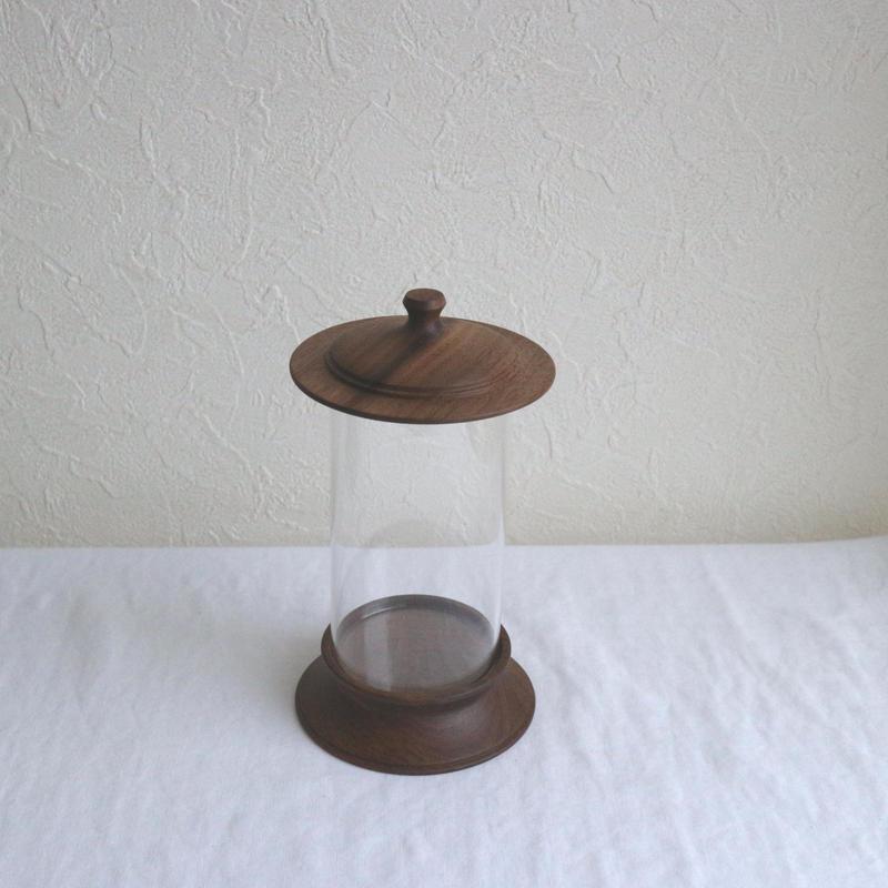 木製ハ―バリウム小(標本瓶)ウォールナット   /    柳弘之