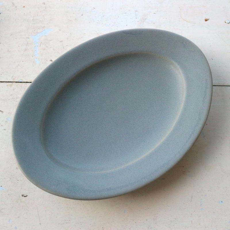 オーバル皿Mサイズ・青マット /    Awabi ware