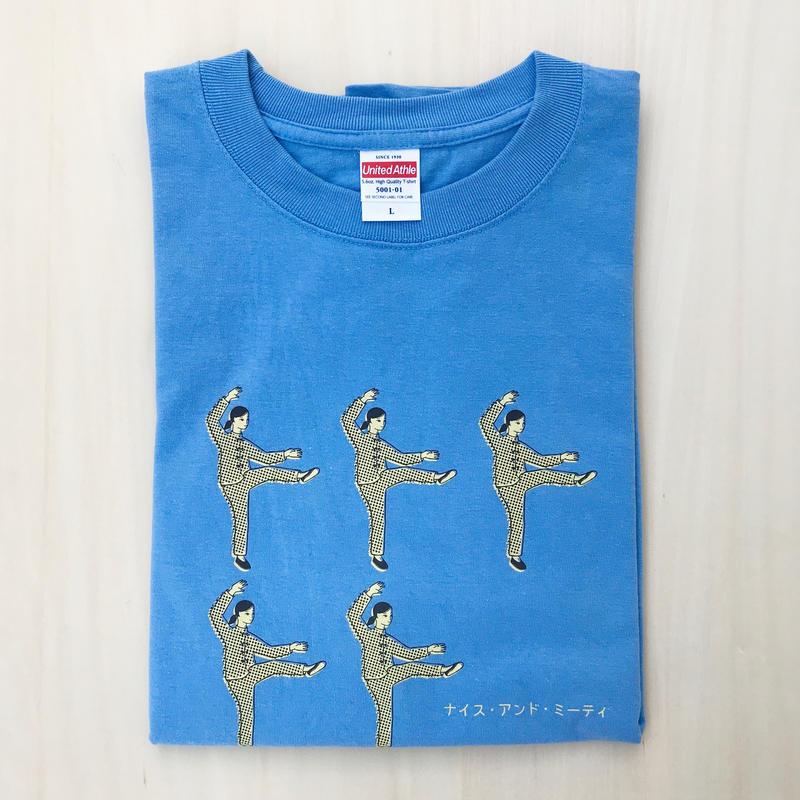 太極拳ガールTシャツ_分脚_Sky Blue / Beige