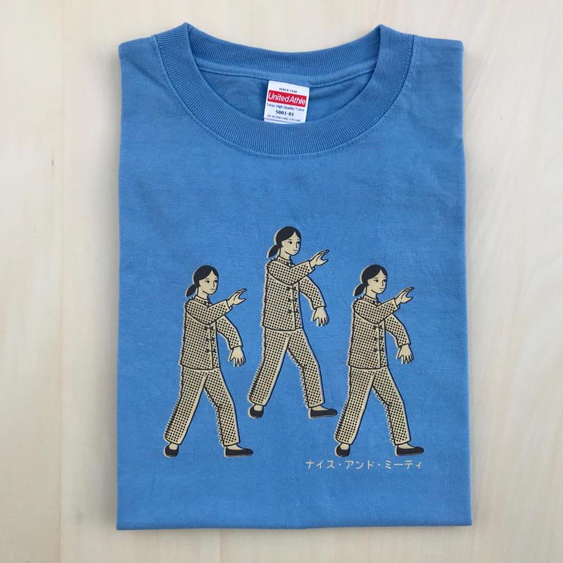 太極拳ガールTシャツ_Sky Blue / Beige