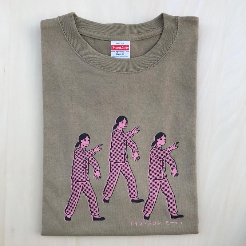 太極拳ガールTシャツ_Sand / Pink