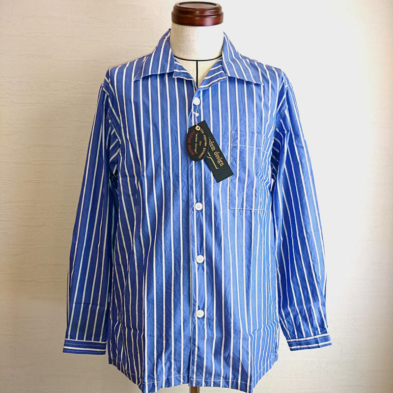 【modem design/モデムデザイン】Stripe Work Shirt  ストライプワークシャツ ブルー
