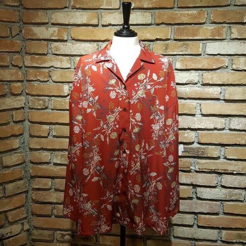 guateng  original 花柄シャツ red