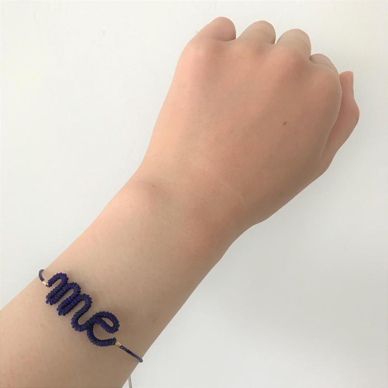 """【chankae】くみひもブレスレット/ """"me"""" (紺)"""