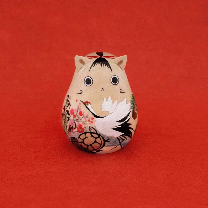 猫のこけし - 鶴亀