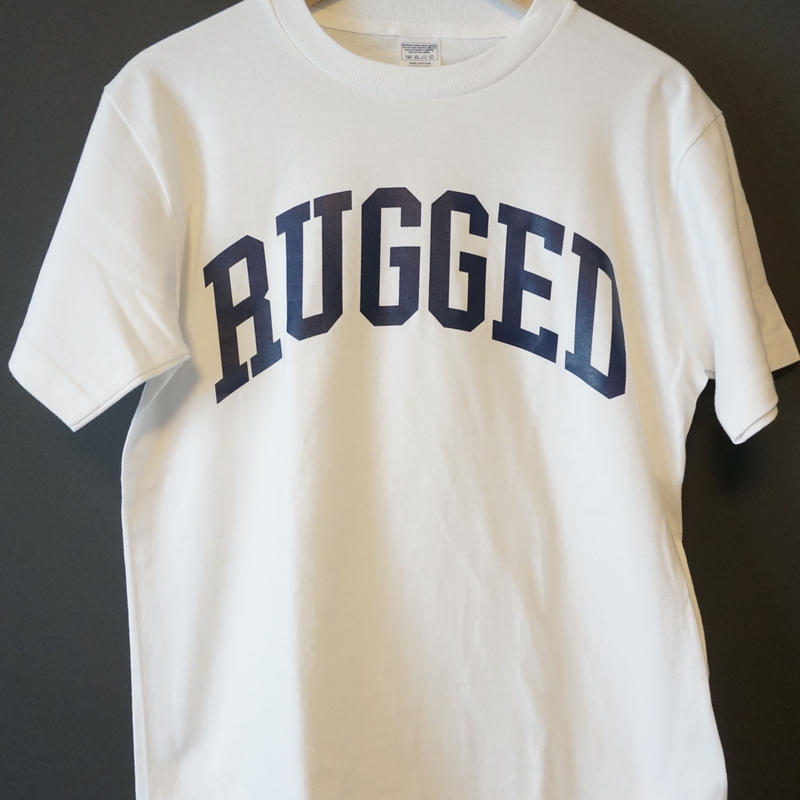"RUGGED ""ARCH logo"" tee(White×Navy)"